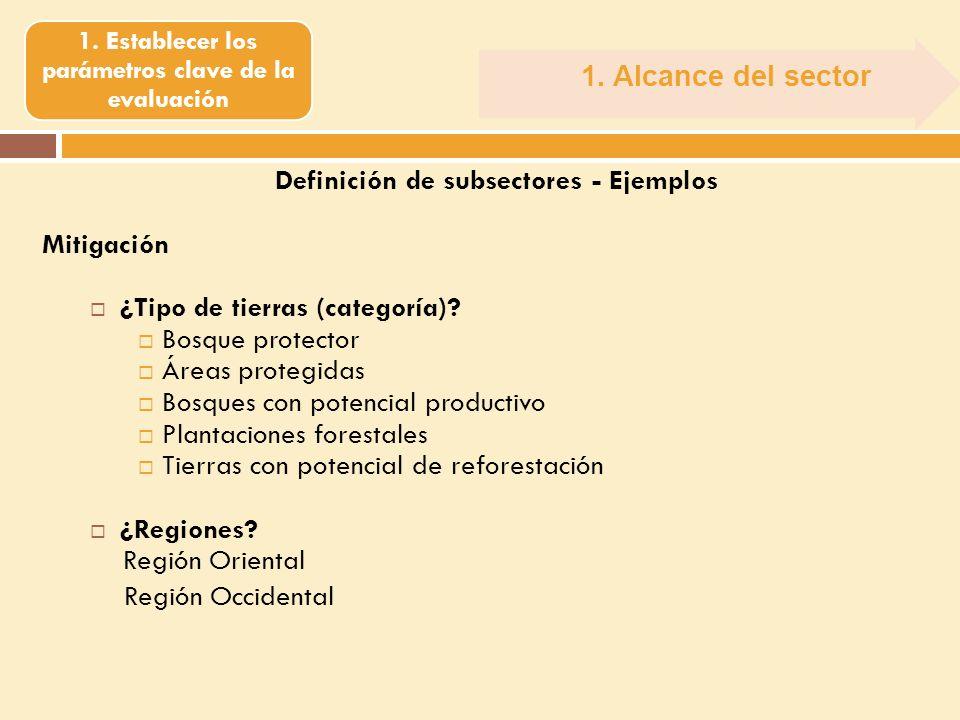 1. Alcance del sector 1. Establecer los parámetros clave de la evaluación Definición de subsectores - Ejemplos Mitigación ¿Tipo de tierras (categoría)