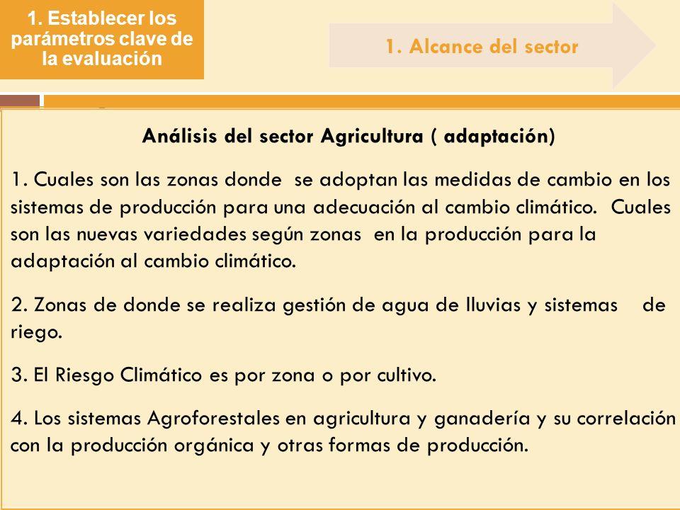 1. Establecer los parámetros clave de la evaluación. Análisis del sector Agricultura ( adaptación) 1. Cuales son las zonas donde se adoptan las medida