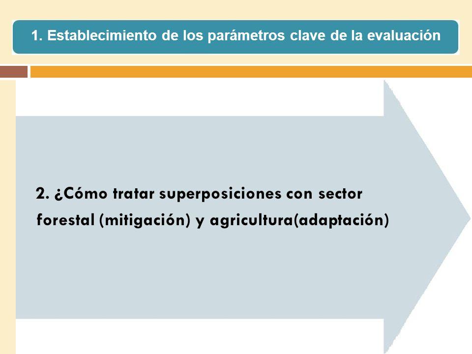 2. ¿Cómo tratar superposiciones con sector forestal (mitigación) y agricultura(adaptación) 1. Establecimiento de los parámetros clave de la evaluación