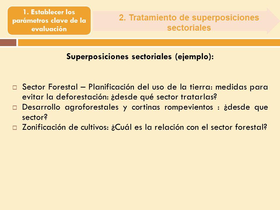 2. Tratamiento de superposiciones sectoriales 1. Establecer los parámetros clave de la evaluación Superposiciones sectoriales (ejemplo): Sector Forest