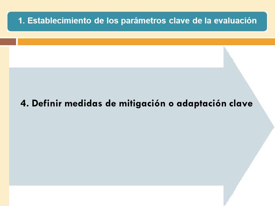 4. Definir medidas de mitigación o adaptación clave 1. Establecimiento de los parámetros clave de la evaluación
