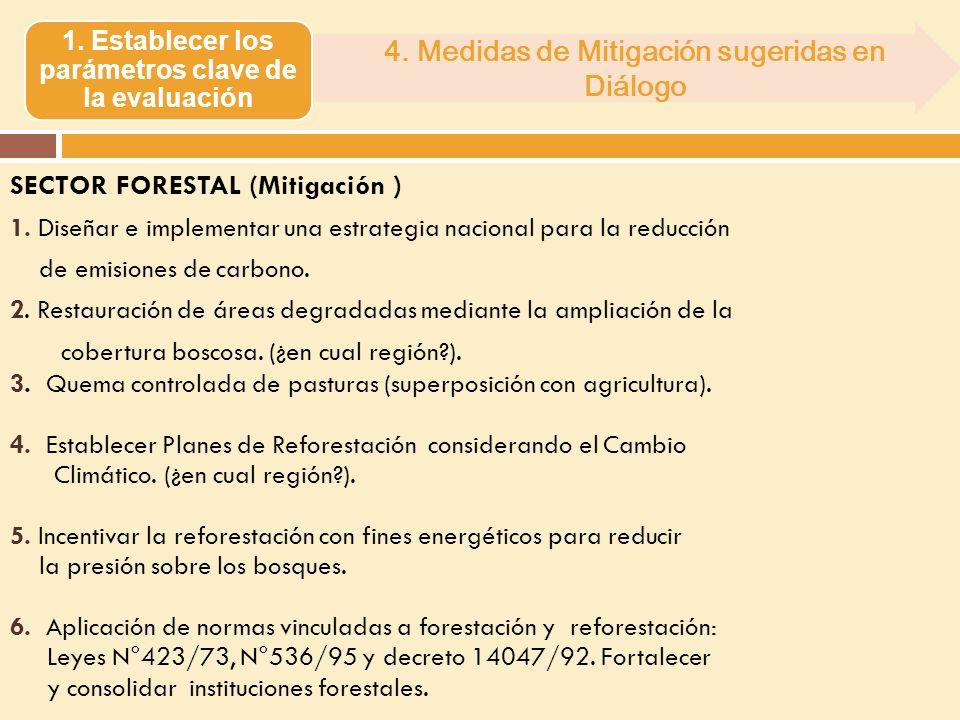 SECTOR FORESTAL (Mitigación ) 1. Diseñar e implementar una estrategia nacional para la reducción de emisiones de carbono. 2. Restauración de áreas deg