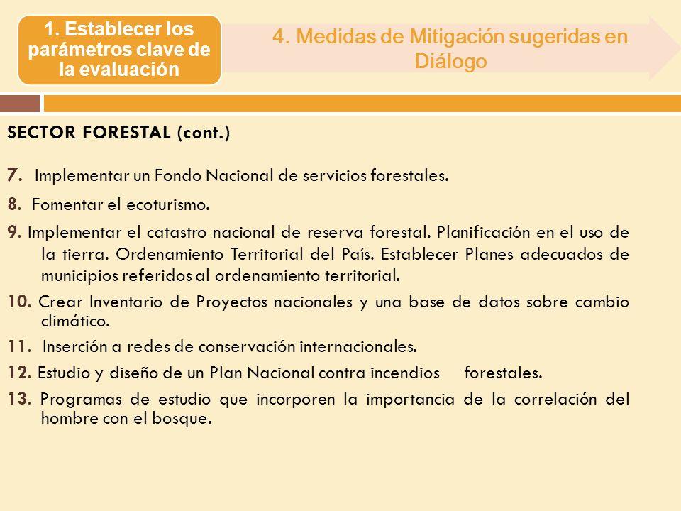 SECTOR FORESTAL (cont.) 7. Implementar un Fondo Nacional de servicios forestales. 8. Fomentar el ecoturismo. 9. Implementar el catastro nacional de re
