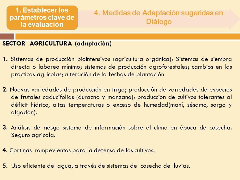 SECTOR AGRICULTURA (adaptación) 1. Sistemas de producción biointensivos (agricultura orgánica); Sistemas de siembra directa o laboreo mínimo; sistemas