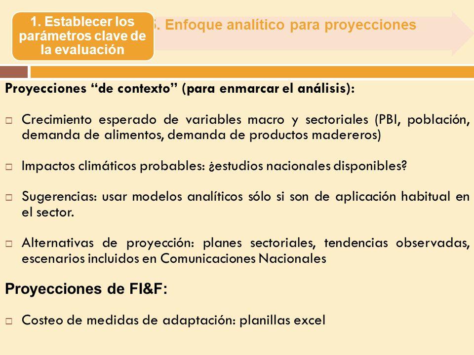 5. Enfoque analítico para proyecciones 1. Establecer los parámetros clave de la evaluación Proyecciones de contexto (para enmarcar el análisis): Creci