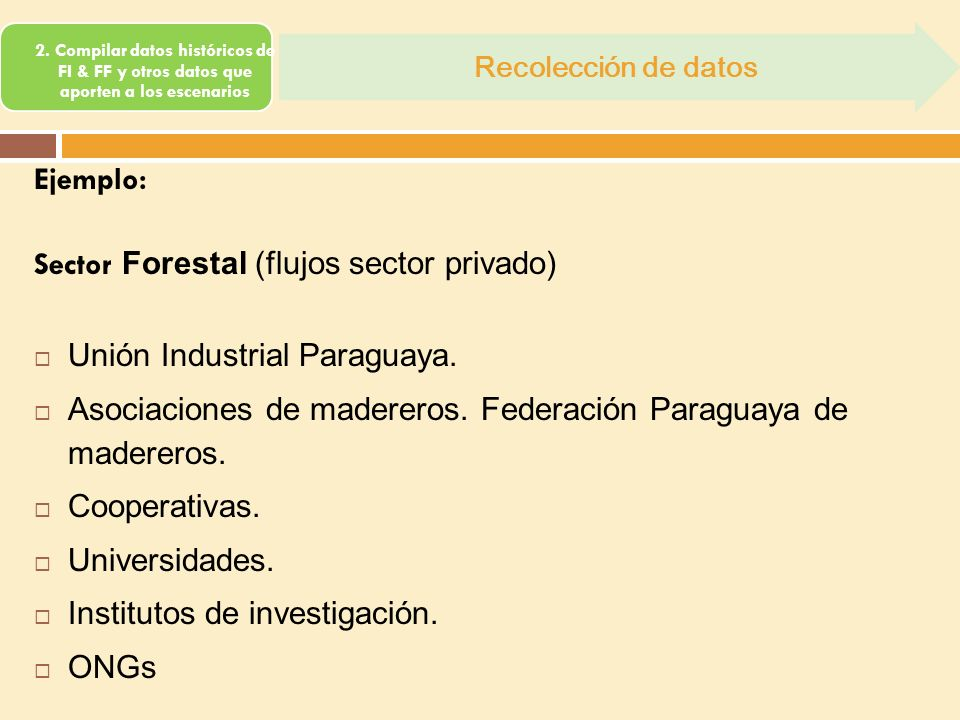2. Compilar datos históricos de FI & FF y otros datos que aporten a los escenarios Recolección de datos Ejemplo: Sector Forestal (flujos sector privad