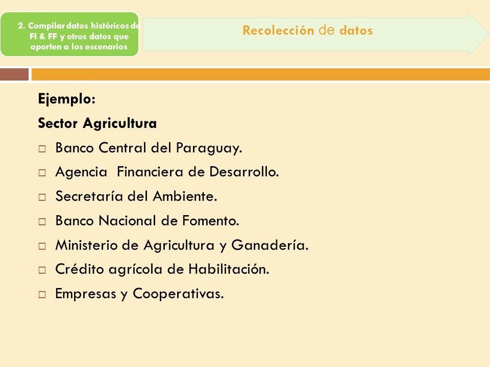 os escenarios Ejemplo: Sector Agricultura Banco Central del Paraguay. Agencia Financiera de Desarrollo. Secretaría del Ambiente. Banco Nacional de Fom