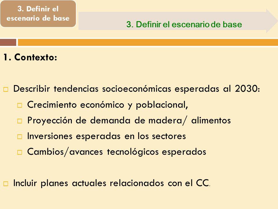 3. Definir el escenario de base 1. Contexto: Describir tendencias socioeconómicas esperadas al 2030: Crecimiento económico y poblacional, Proyección d