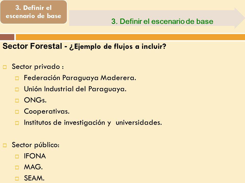 3. Definir el escenario de base Sector Forestal - ¿ Ejemplo de flujos a incluir? Sector privado : Federación Paraguaya Maderera. Unión Industrial del