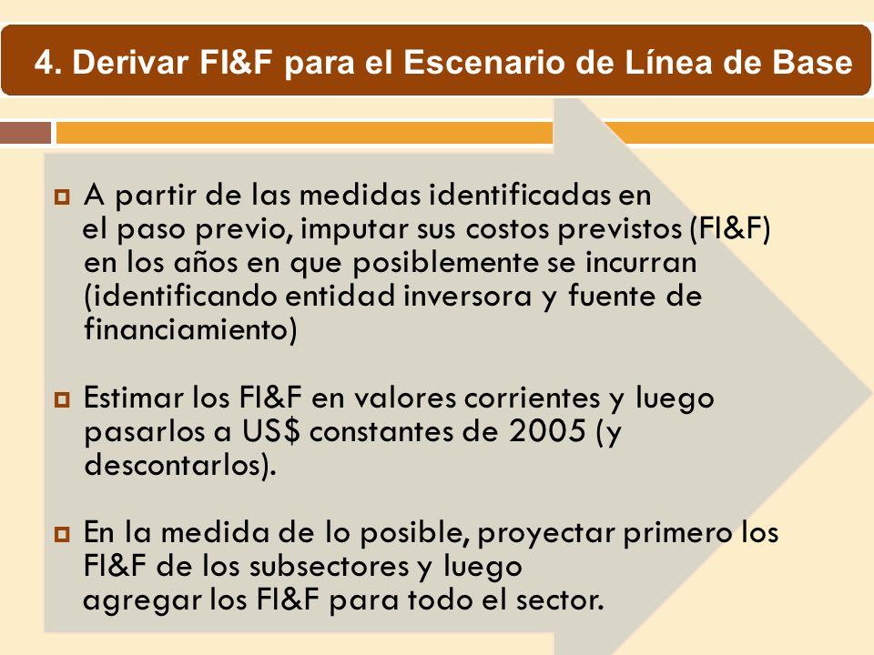 A partir de las medidas identificadas en el paso previo, imputar sus costos previstos (FI&F) en los años en que posiblemente se incurran (identificand