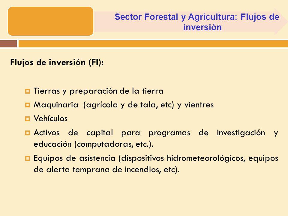 Flujos de inversión (FI): Tierras y preparación de la tierra Maquinaria (agrícola y de tala, etc) y vientres Vehículos Activos de capital para program