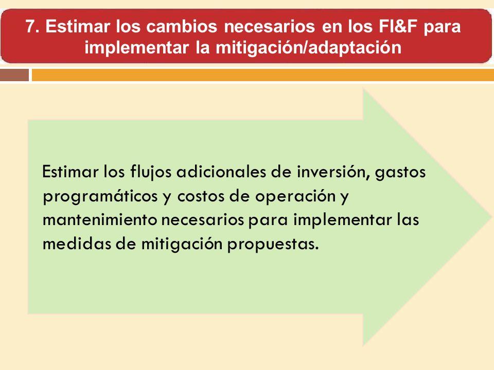 Estimar los flujos adicionales de inversión, gastos programáticos y costos de operación y mantenimiento necesarios para implementar las medidas de mit