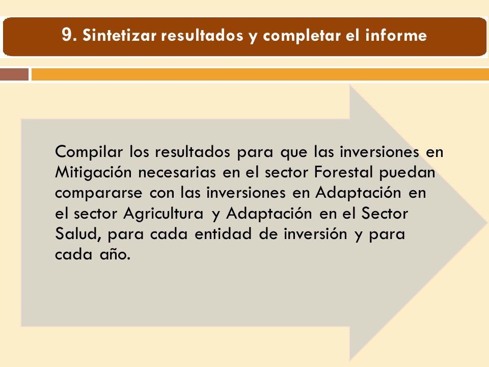 Compilar los resultados para que las inversiones en Mitigación necesarias en el sector Forestal puedan compararse con las inversiones en Adaptación en