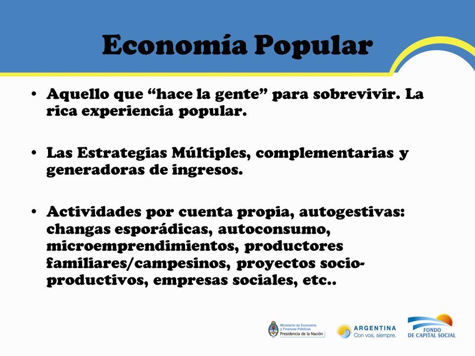 Economía Popular Preeminencia del Factor Trabajo (T) por sobre el Factor Capital (K).