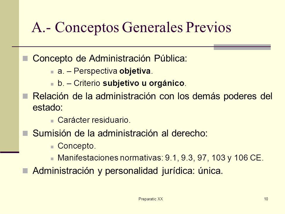 Preparatic XX10 A.- Conceptos Generales Previos Concepto de Administración Pública: a.