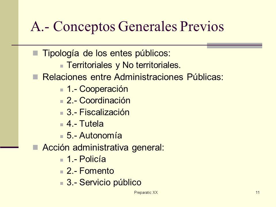 Preparatic XX11 A.- Conceptos Generales Previos Tipología de los entes públicos: Territoriales y No territoriales.
