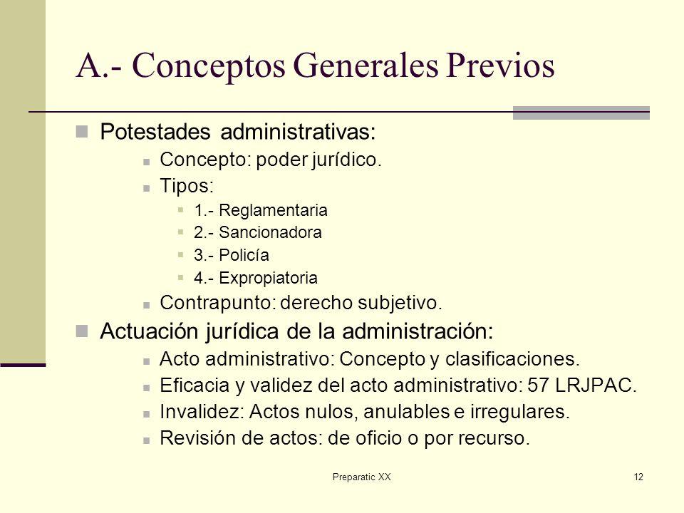 Preparatic XX12 A.- Conceptos Generales Previos Potestades administrativas: Concepto: poder jurídico.