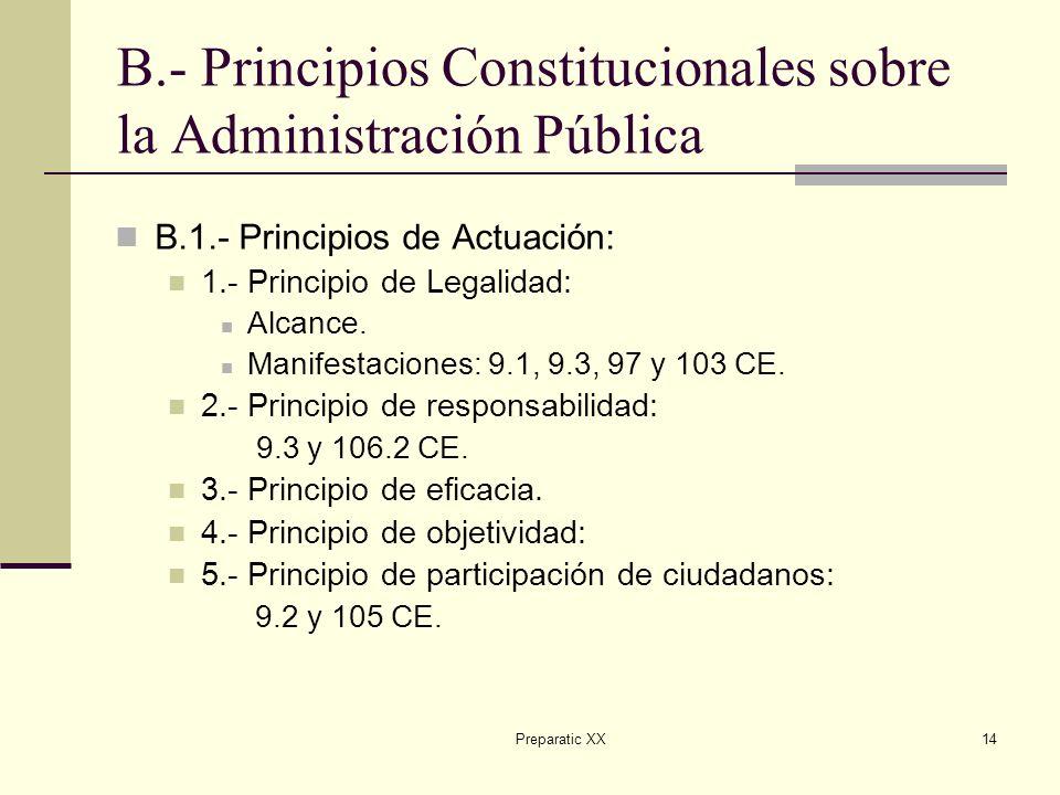 Preparatic XX14 B.- Principios Constitucionales sobre la Administración Pública B.1.- Principios de Actuación: 1.- Principio de Legalidad: Alcance.