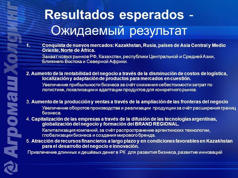 Resultados esperados - Ожидаемый результат 1.Conquista de nuevos mercados: Kazakhstan, Rusia, países de Asia Central y Medio Oriente, Norte de África.