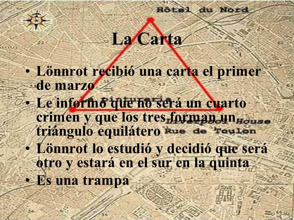 La Carta Lönnrot recibió una carta el primer de marzo Le informó que no será un cuarto crimen y que los tres forman un triángulo equilátero Lönnrot lo
