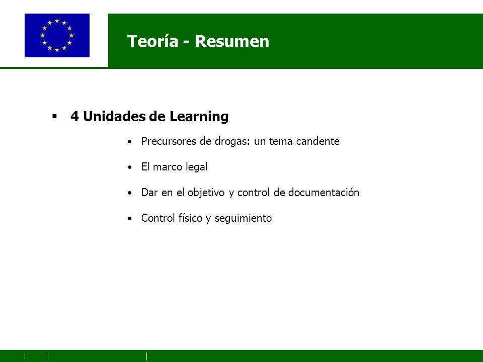 Teoría - Resumen 4 Unidades de Learning Precursores de drogas: un tema candente El marco legal Dar en el objetivo y control de documentación Control físico y seguimiento
