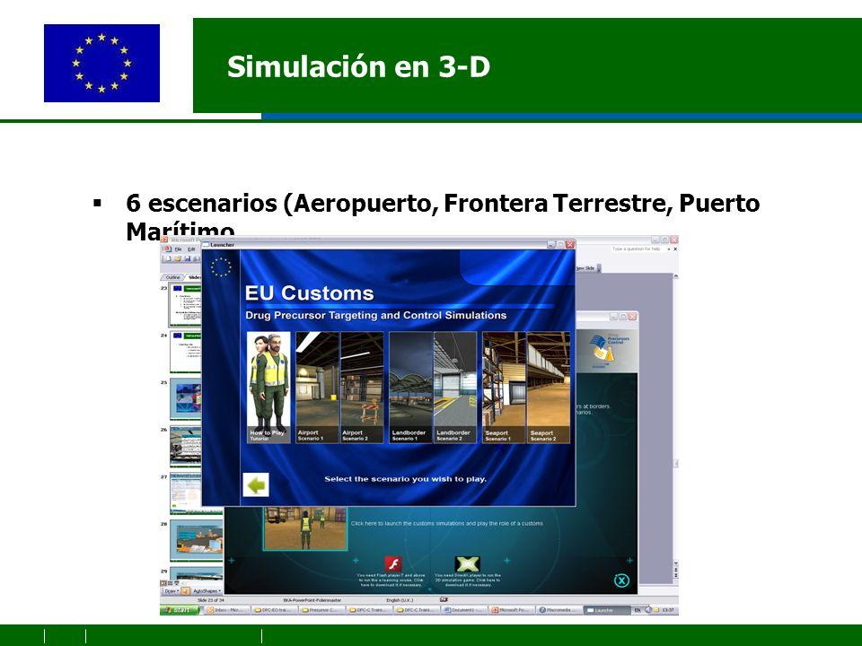 Simulación en 3-D 6 escenarios (Aeropuerto, Frontera Terrestre, Puerto Marítimo