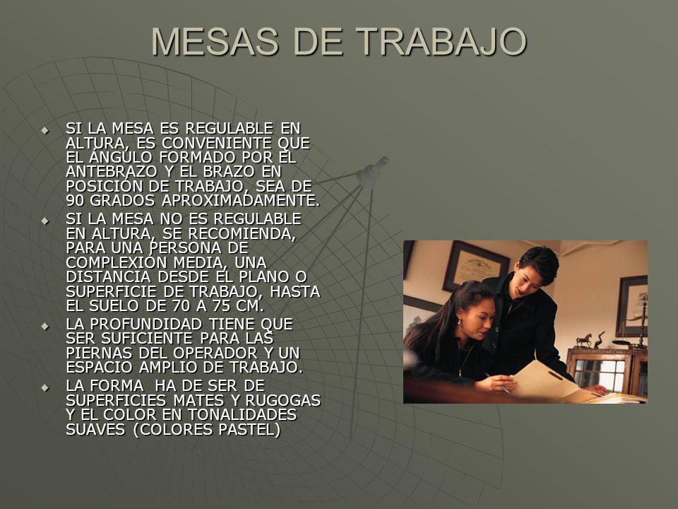 MESAS DE TRABAJO SI LA MESA ES REGULABLE EN ALTURA, ES CONVENIENTE QUE EL ÁNGULO FORMADO POR EL ANTEBRAZO Y EL BRAZO EN POSICIÓN DE TRABAJO, SEA DE 90