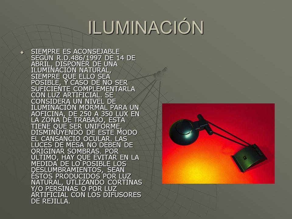 ILUMINACIÓN SIEMPRE ES ACONSEJABLE SEGÚN R.D.486/1997 DE 14 DE ABRIL, DISPONER DE UNA ILUMINACIÓN NATURAL, SIEMPRE QUE ELLO SEA POSIBLE, Y CASO DE NO SER SUFICIENTE COMPLEMENTARLA CON LUZ ARTIFICIAL.
