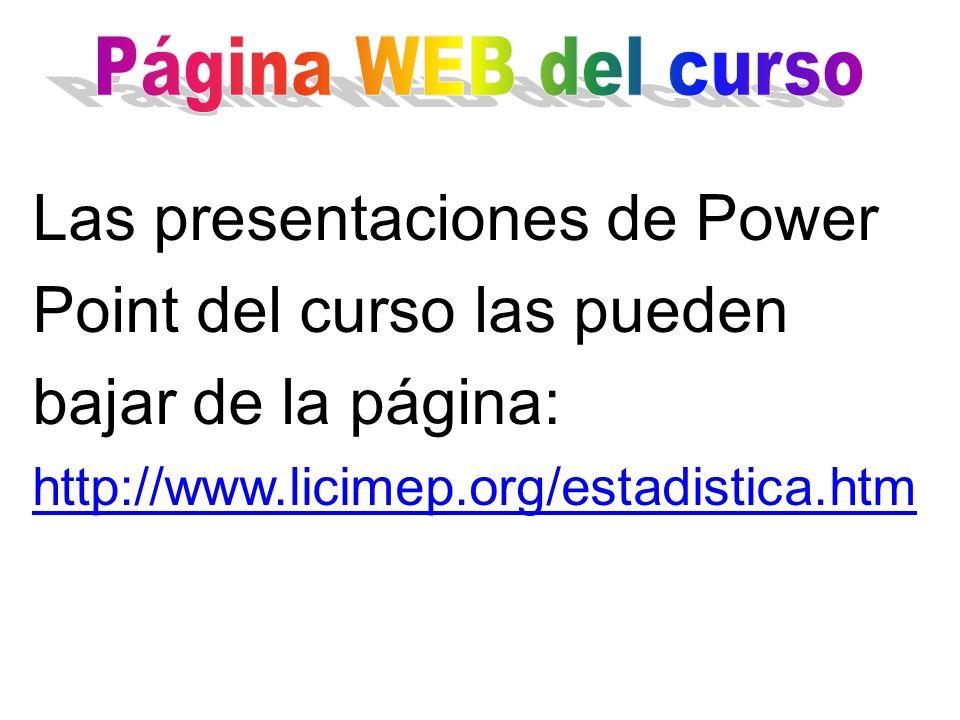 Las presentaciones de Power Point del curso las pueden bajar de la página: http://www.licimep.org/estadistica.htm