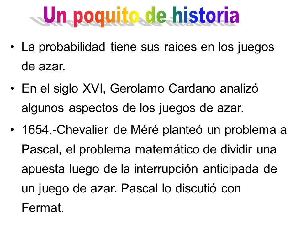 La probabilidad tiene sus raices en los juegos de azar. En el siglo XVI, Gerolamo Cardano analizó algunos aspectos de los juegos de azar. 1654.-Cheval