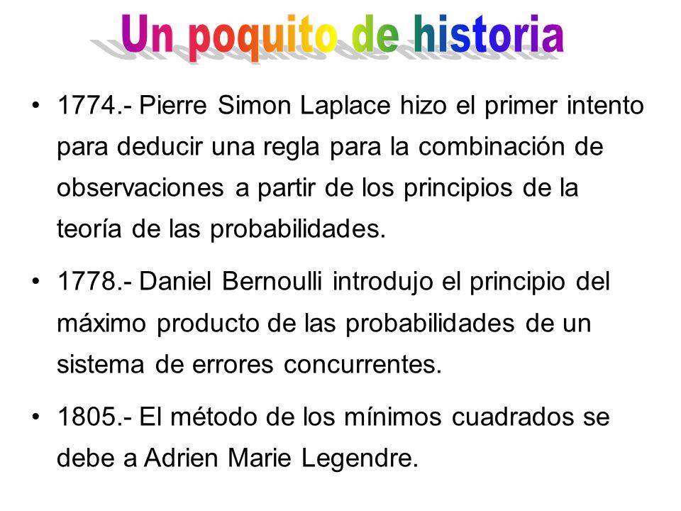 1774.- Pierre Simon Laplace hizo el primer intento para deducir una regla para la combinación de observaciones a partir de los principios de la teoría