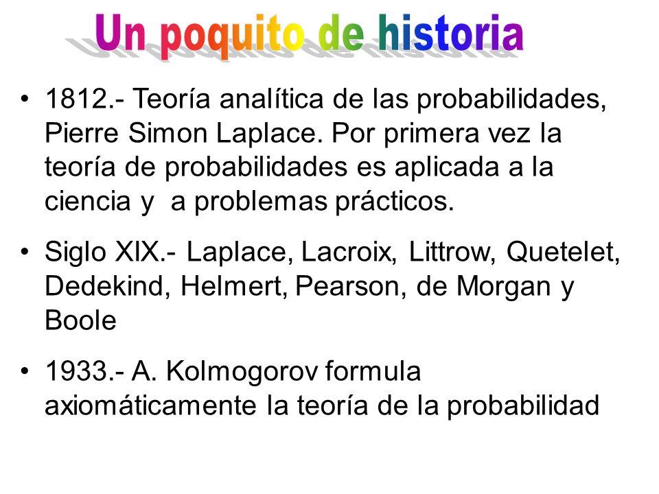 1812.- Teoría analítica de las probabilidades, Pierre Simon Laplace. Por primera vez la teoría de probabilidades es aplicada a la ciencia y a problema