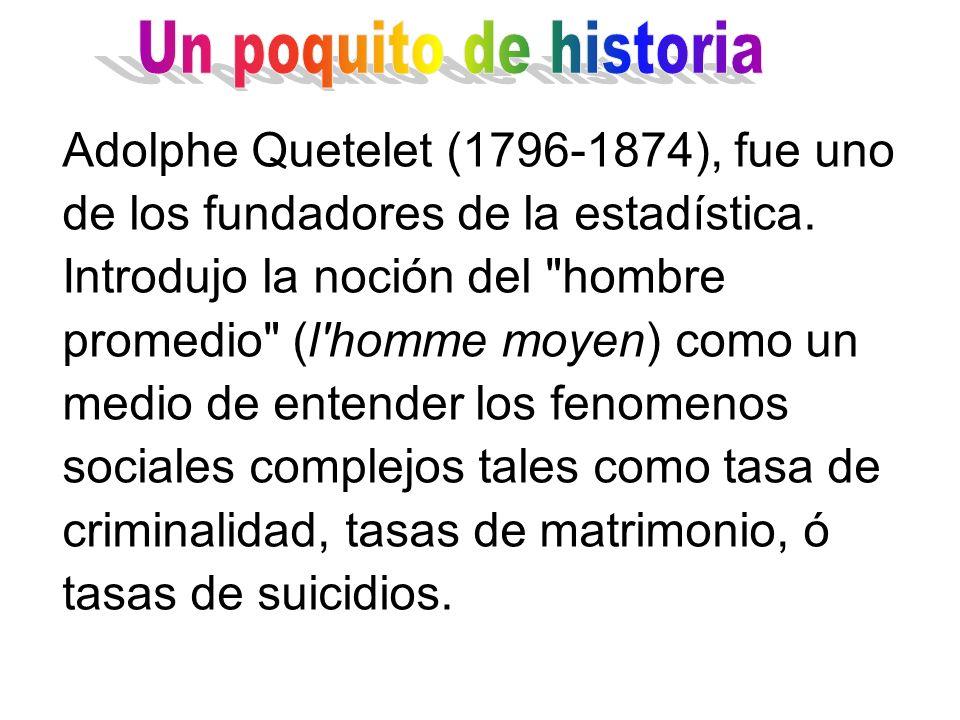 Adolphe Quetelet (1796-1874), fue uno de los fundadores de la estadística. Introdujo la noción del
