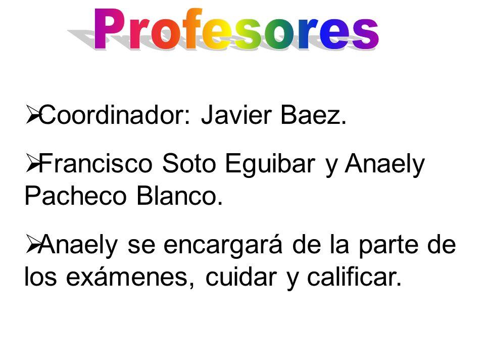 Coordinador: Javier Baez. Francisco Soto Eguibar y Anaely Pacheco Blanco. Anaely se encargará de la parte de los exámenes, cuidar y calificar.