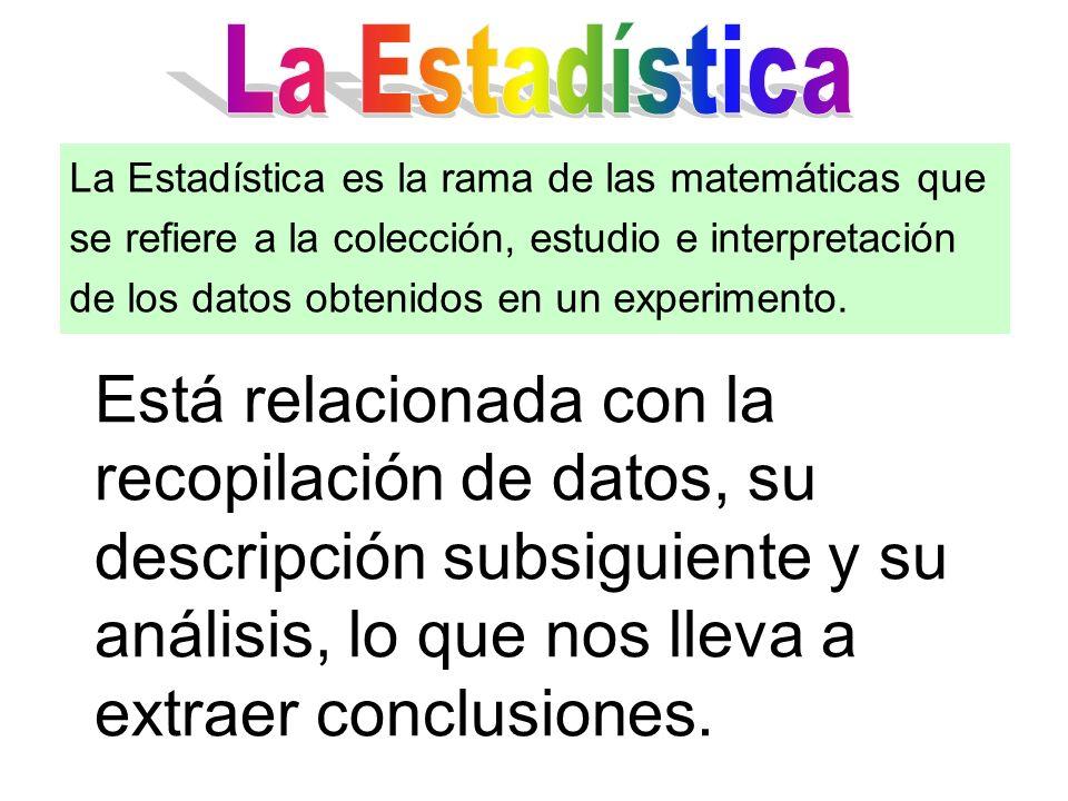 Está relacionada con la recopilación de datos, su descripción subsiguiente y su análisis, lo que nos lleva a extraer conclusiones. La Estadística es l
