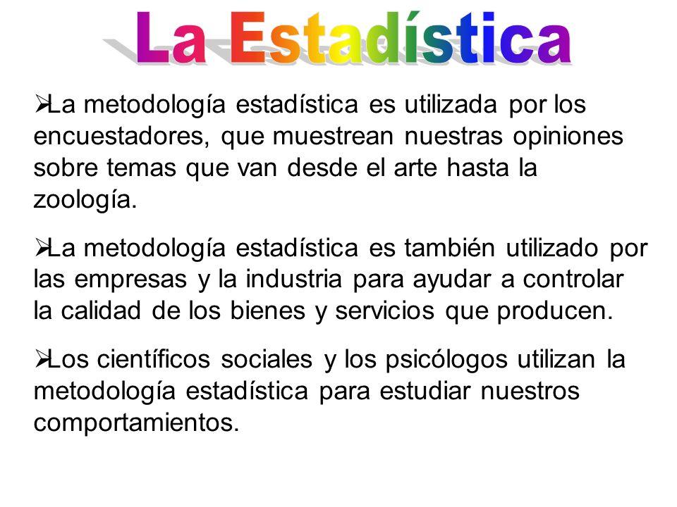 La metodología estadística es utilizada por los encuestadores, que muestrean nuestras opiniones sobre temas que van desde el arte hasta la zoología. L