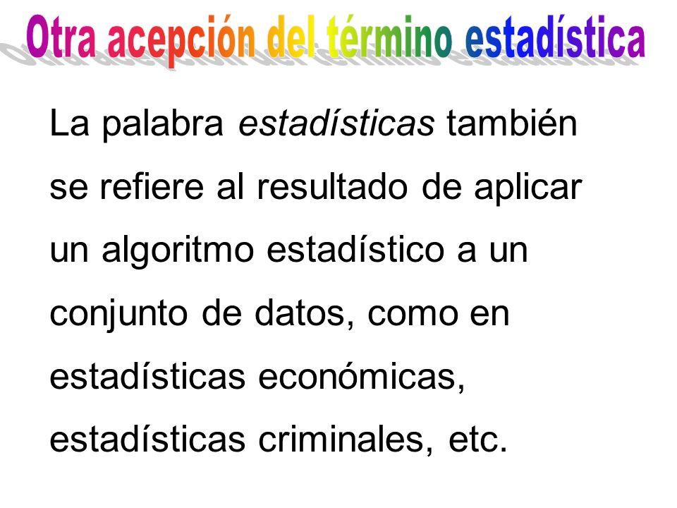 La palabra estadísticas también se refiere al resultado de aplicar un algoritmo estadístico a un conjunto de datos, como en estadísticas económicas, e