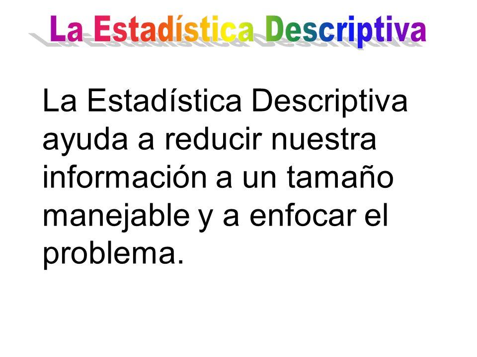 La Estadística Descriptiva ayuda a reducir nuestra información a un tamaño manejable y a enfocar el problema.