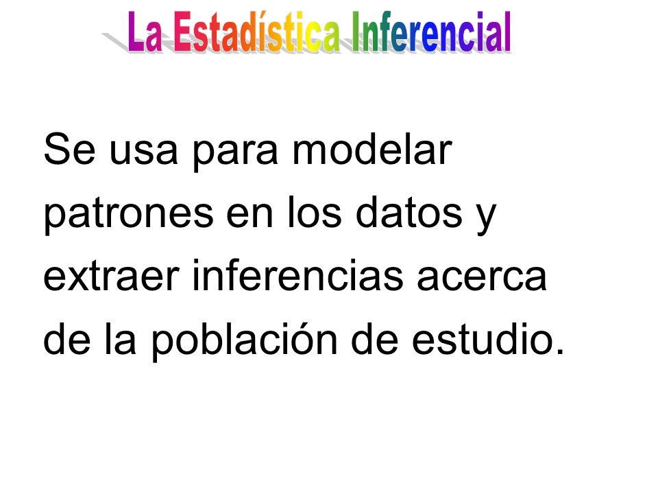 Se usa para modelar patrones en los datos y extraer inferencias acerca de la población de estudio.