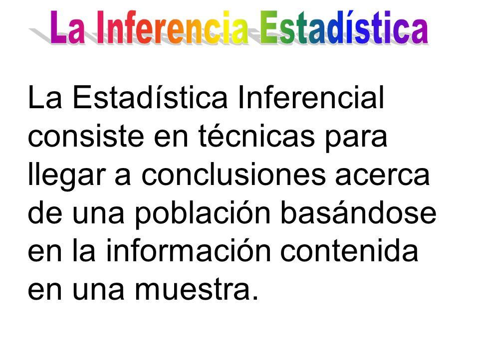 La Estadística Inferencial consiste en técnicas para llegar a conclusiones acerca de una población basándose en la información contenida en una muestr