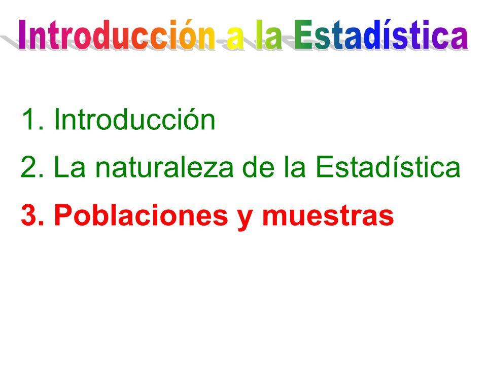 1. Introducción 2. La naturaleza de la Estadística 3. Poblaciones y muestras