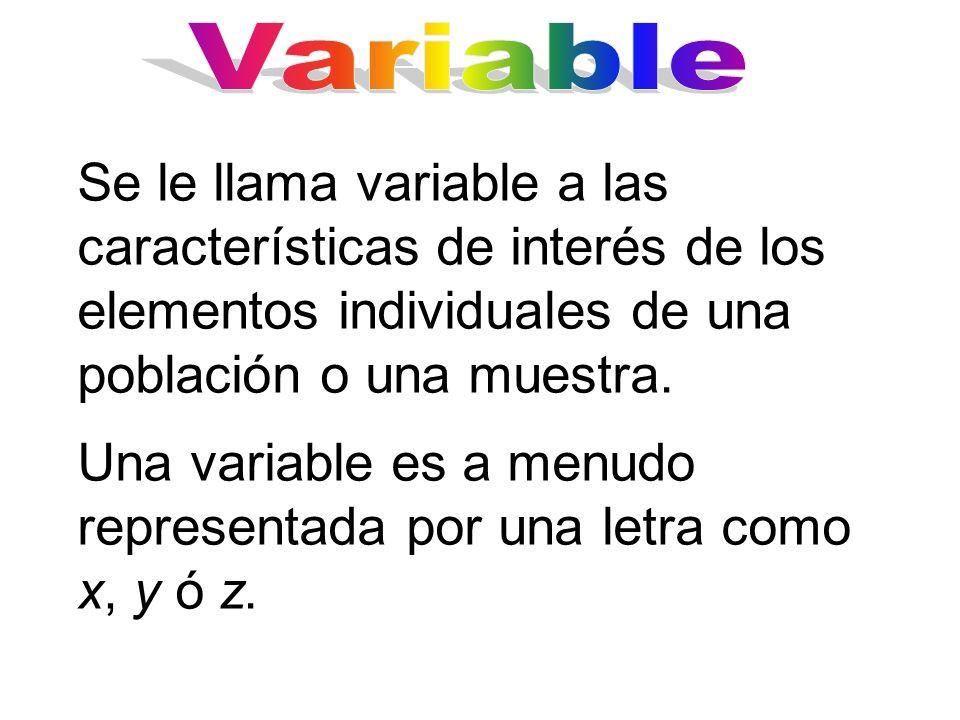 Se le llama variable a las características de interés de los elementos individuales de una población o una muestra. Una variable es a menudo represent