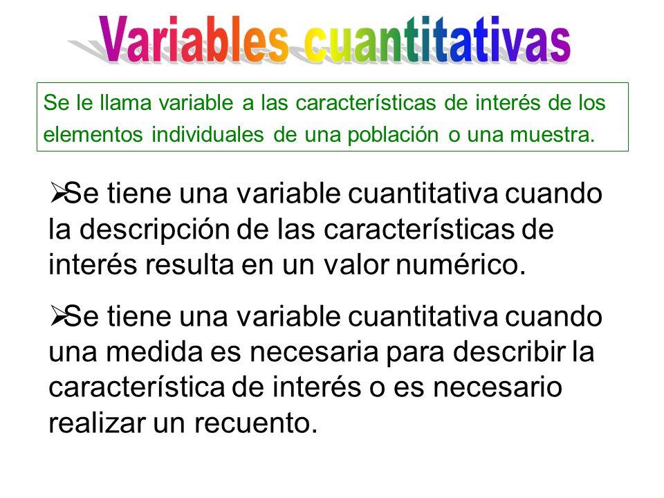 Se tiene una variable cuantitativa cuando la descripción de las características de interés resulta en un valor numérico. Se tiene una variable cuantit