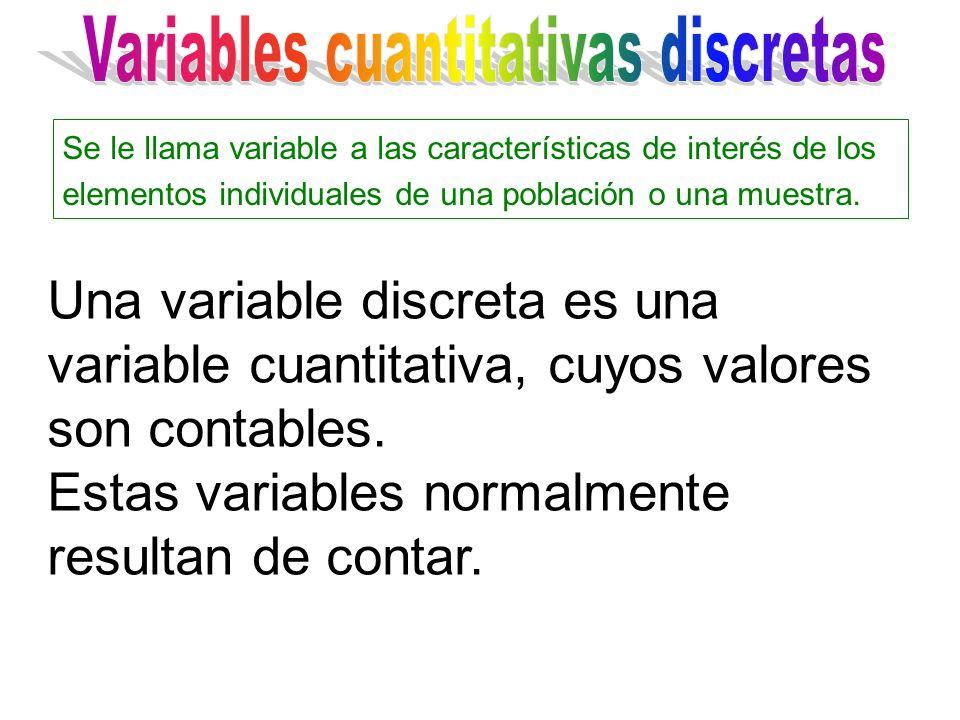 Una variable discreta es una variable cuantitativa, cuyos valores son contables. Estas variables normalmente resultan de contar. Se le llama variable