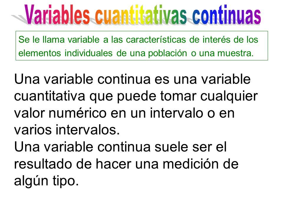 Una variable continua es una variable cuantitativa que puede tomar cualquier valor numérico en un intervalo o en varios intervalos. Una variable conti
