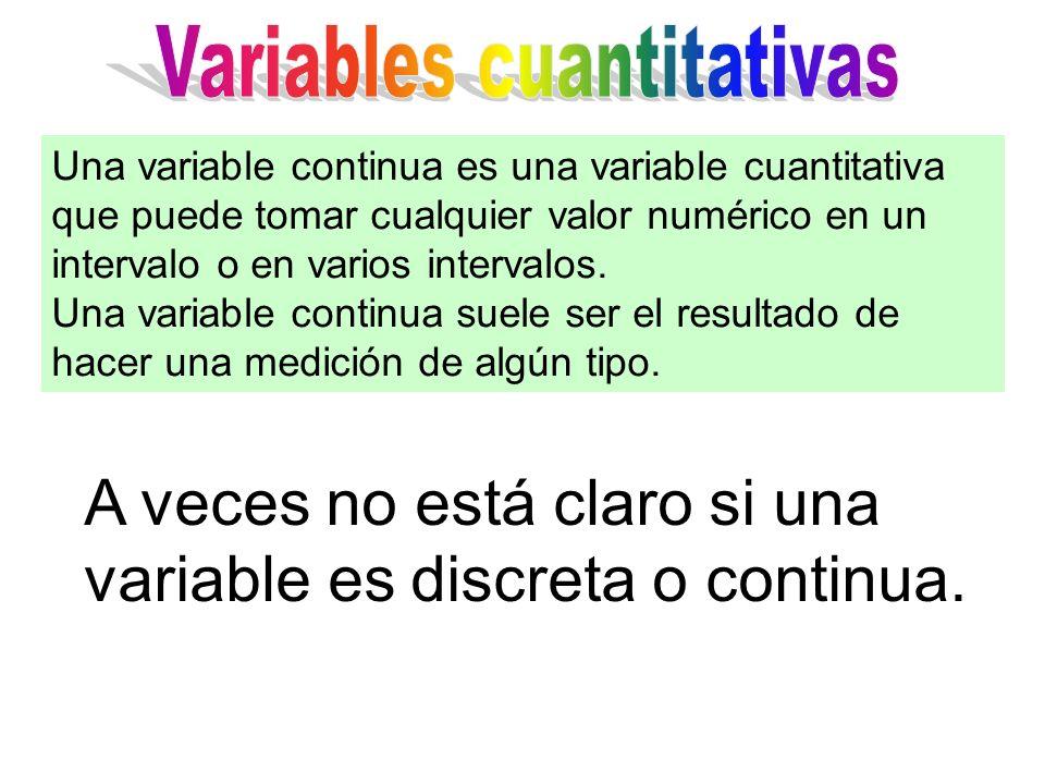 A veces no está claro si una variable es discreta o continua. Una variable continua es una variable cuantitativa que puede tomar cualquier valor numér