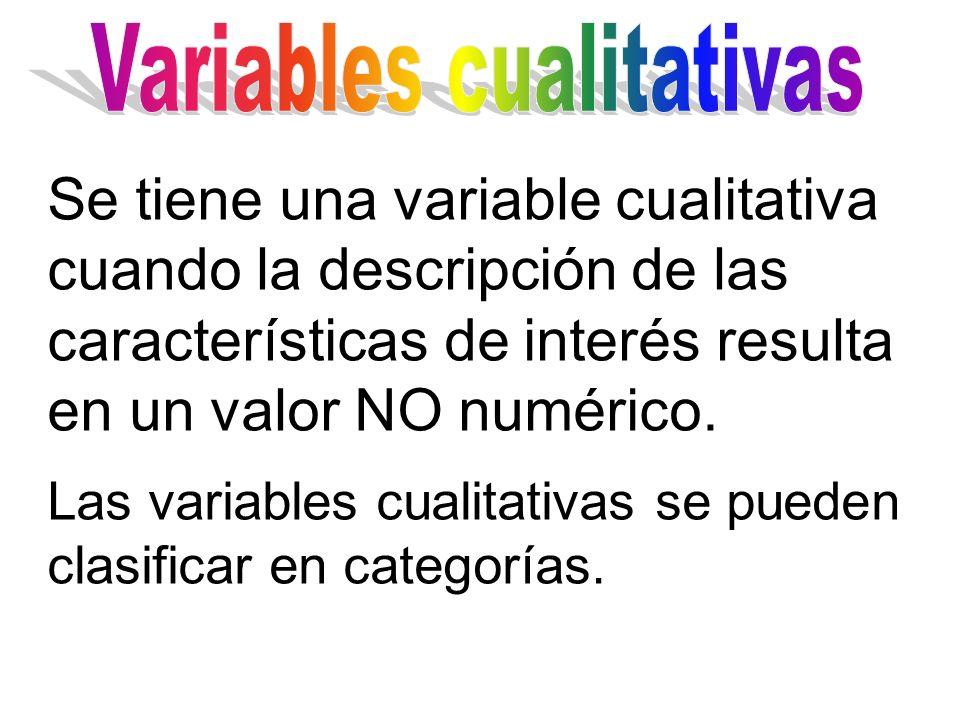 Se tiene una variable cualitativa cuando la descripción de las características de interés resulta en un valor NO numérico. Las variables cualitativas