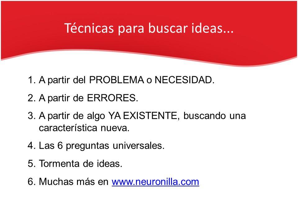 Técnicas para buscar ideas... 1.A partir del PROBLEMA o NECESIDAD. 2.A partir de ERRORES. 3.A partir de algo YA EXISTENTE, buscando una característica