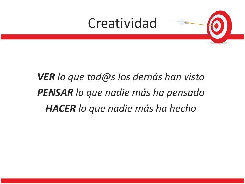 Creatividad VER lo que tod@s los demás han visto PENSAR lo que nadie más ha pensado HACER lo que nadie más ha hecho