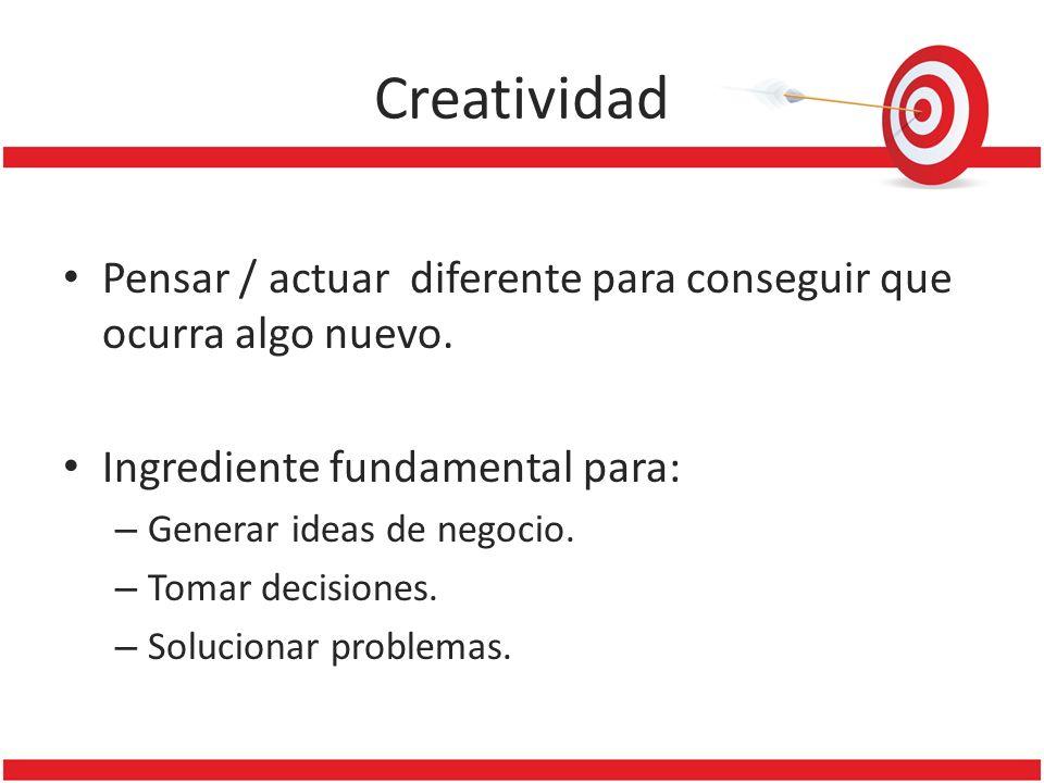 Creatividad Pensar / actuar diferente para conseguir que ocurra algo nuevo. Ingrediente fundamental para: – Generar ideas de negocio. – Tomar decision